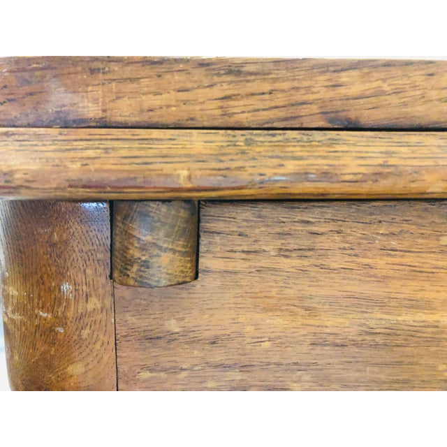 Blue 1920s Traditional Solid Oak Captain's Dining/Center Table with Patina For Sale - Image 8 of 12