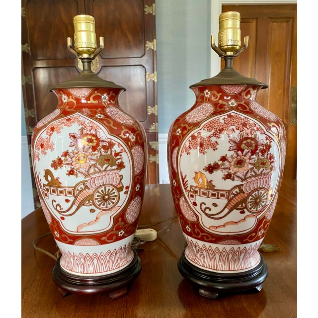 Vintage Gold Imari Red and Gold Lamps - a Pair For Sale - Image 13 of 13