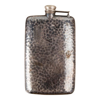 1940s Art Deco Hammered Tin Flask For Sale
