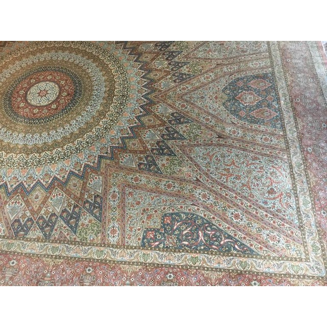 Finely Knotted Silk Qom Carpet - 7′10″ × 11′4″ - Image 2 of 8