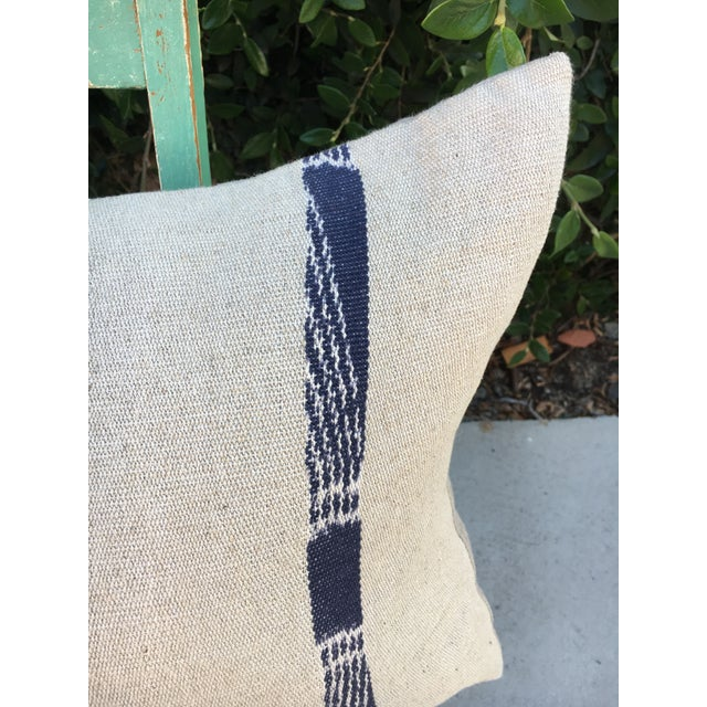 Mid 20th Century Hand Woven Pillow With Indigo Stripes For Sale - Image 5 of 6