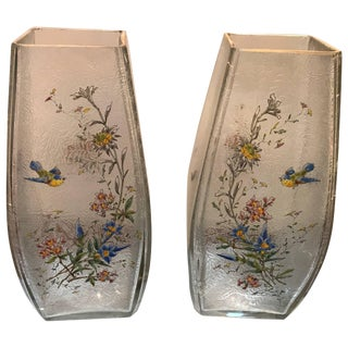 19th Century French Hand Enameled Mont Joye Vases- A Pair For Sale