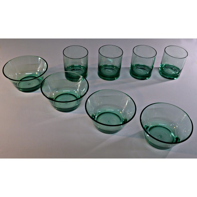 Retro Style Acrylic Green Glassware Set For Sale In Miami - Image 6 of 7