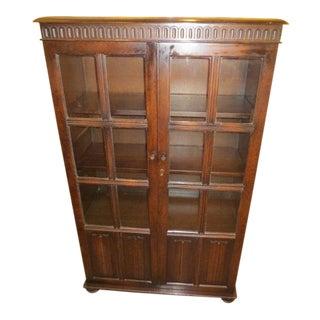 C.1940's Jacobean Oak Bookcase Cabinet
