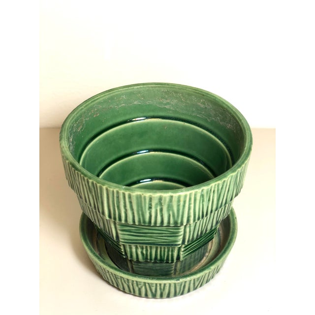 """McCoy Pottery 1940s - 1960s """"Green"""" Mid Century Flowerpot And Attached Saucer, Bark Basket Weave Design, Small, Green..."""