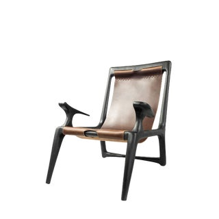Contemporary Charcoal Ash and Brown Leather Sling Chair For Sale