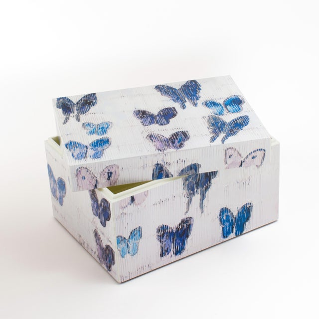 Contemporary Hunt Slonem's Lacquered Blue Butterfly Box Set For Sale - Image 3 of 6