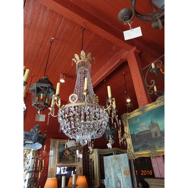 19th Century French Empire Crystal Chandelier For Sale - Image 11 of 12