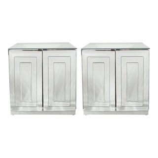 Mid-Century Skyscraper Style Mirrored Nightstands/End Tables by Ello