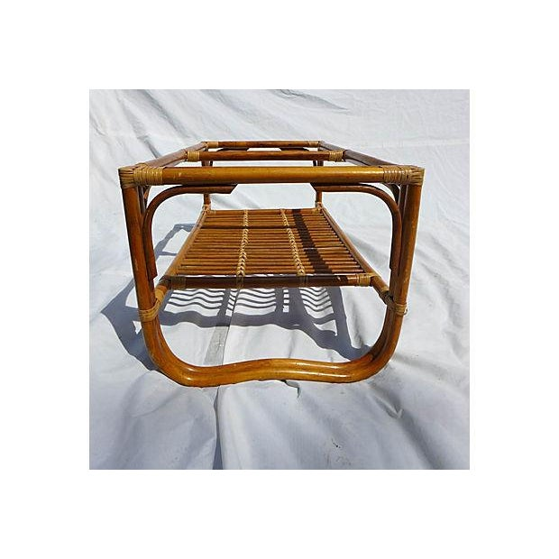 70's Albini Style Rattan Coffee Table With Glass For Sale - Image 7 of 8