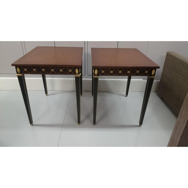 Trouvailles Pair of Boughton tables with tapered legs and shaped aprons. Perfect addition to your living room!