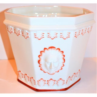 1980s Vintage Mottahedeh Cream and Paprika Porcelain Cachpot Preview
