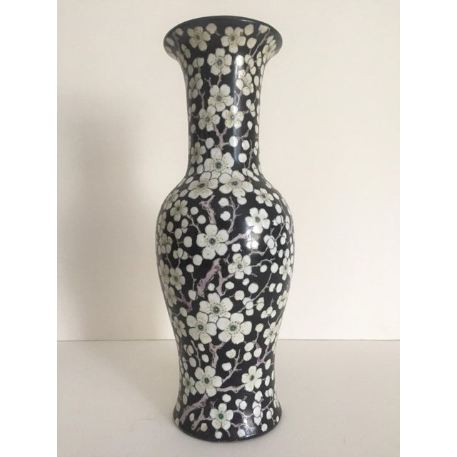 Vintage Japan Porcelain Ware Black White Flower Blossoms Tall