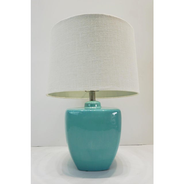 Turquoise Modern Turquoise Ceramic Table Lamps - a Pair For Sale - Image 8 of 10