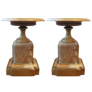 Antique French Sienna Marble Garniture Tazza Compotes - A Pair For Sale