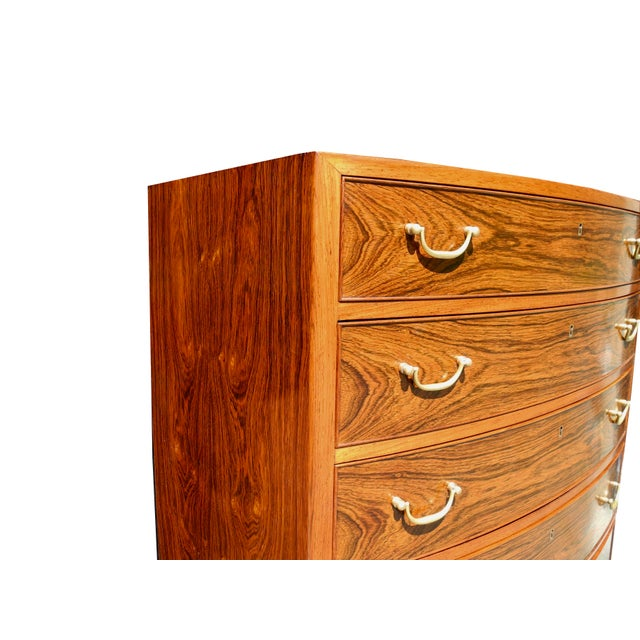 Danish Modern Tall Rosewood Bombe Dresser / Gentleman's Chest by Ole Wanscher For Sale - Image 11 of 12