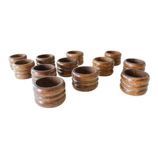 12 Knobler Scandia Wooden Napkin Rings Round Wood Mid Century For Sale
