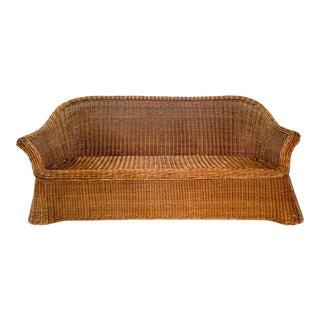 1970s Trompe l'Oeil Rattan Wicker Draped Ghost Sofa Style of Soane Britain and Micheal Taylor For Sale