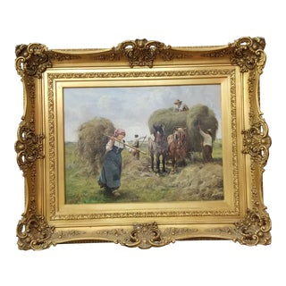 Julien Joseph Painting of Gathering Hay For Sale