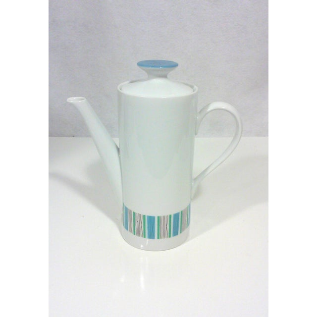 Mid-Century Blue and White Porcelain Coffee Pot For Sale - Image 4 of 4