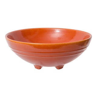 1930s California Pottery Orange-Red Footed Ringware Bowl For Sale