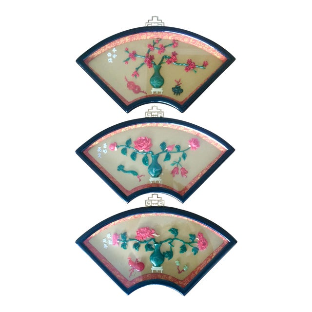 Chinese Art Fan Shadow Box/Diorama - Set of 3 For Sale