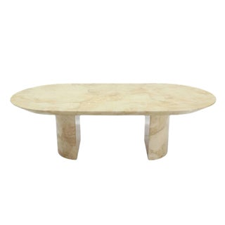 Goatskin Parchment Two Pedestal Oval Dining Table