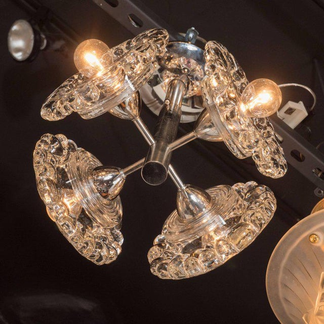 1960s Mid-Century Modern Chrome Chandelier with Abstracted Floral Shades, J.T. Kalmar For Sale - Image 5 of 7