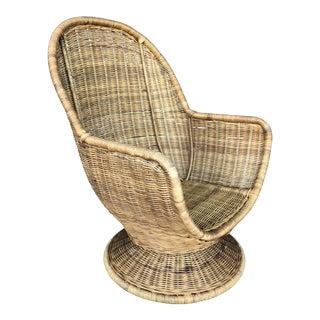 Vintage Wicker Swivel Egg Chair For Sale
