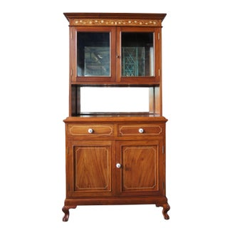20th Century Traditional Mahogany Marquetry Inlay China Hutch Mirrored Ball & Claw Foot Preview