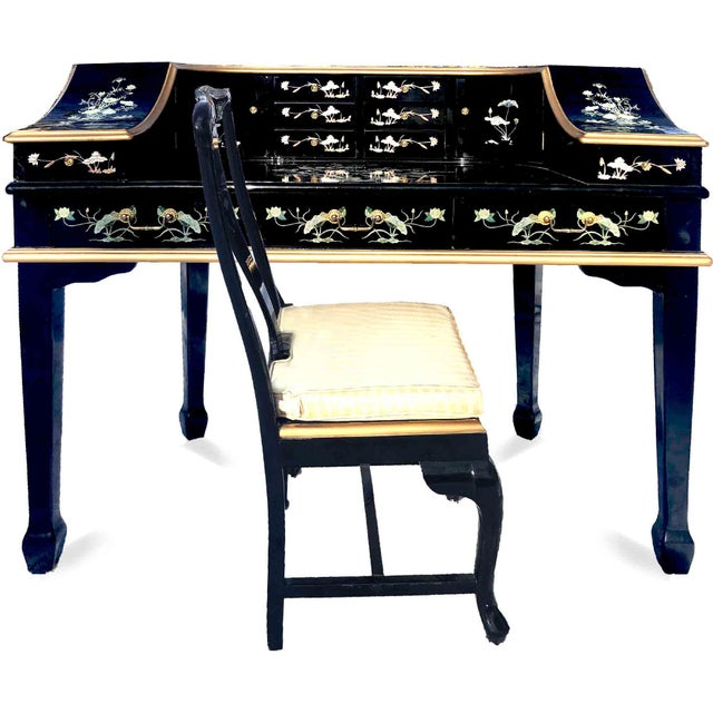 1990s Chinoiserie Carlton House Laquered Desk & Chair Set - 2 Pieces For Sale - Image 12 of 12