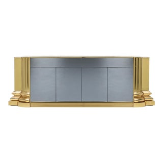 Brass and Marble Credenza by Sandro Petti for Maison Jansen - 1970s For Sale
