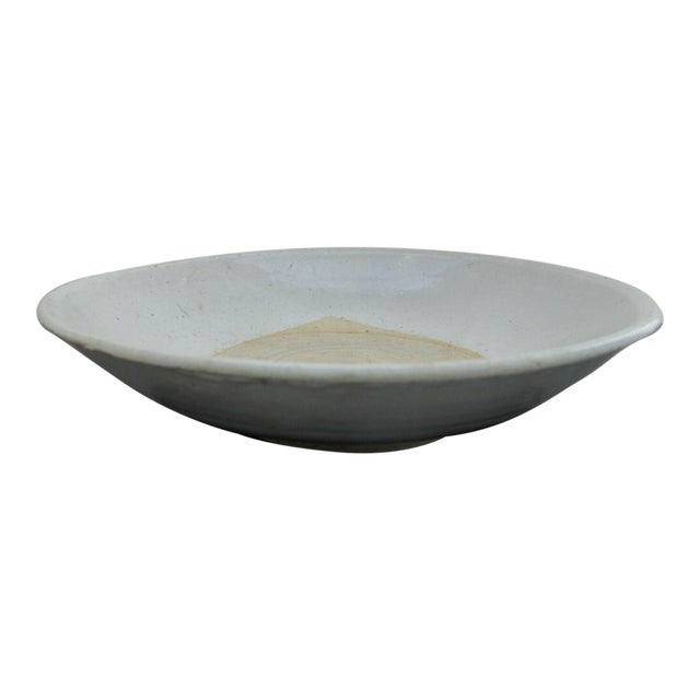 Early 20th Century Primitive Chinese Earthenware Blue Gray Terracotta Clay Pottery Leaf Design Bowl For Sale