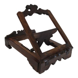 Early 17th Century Signed Italian Baroque Carved Walnut Adjustable Leggio For Sale