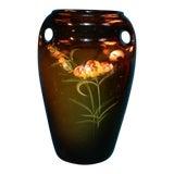 Image of Antique Art Deco Chrysanthemum Flowing Handles Vase For Sale