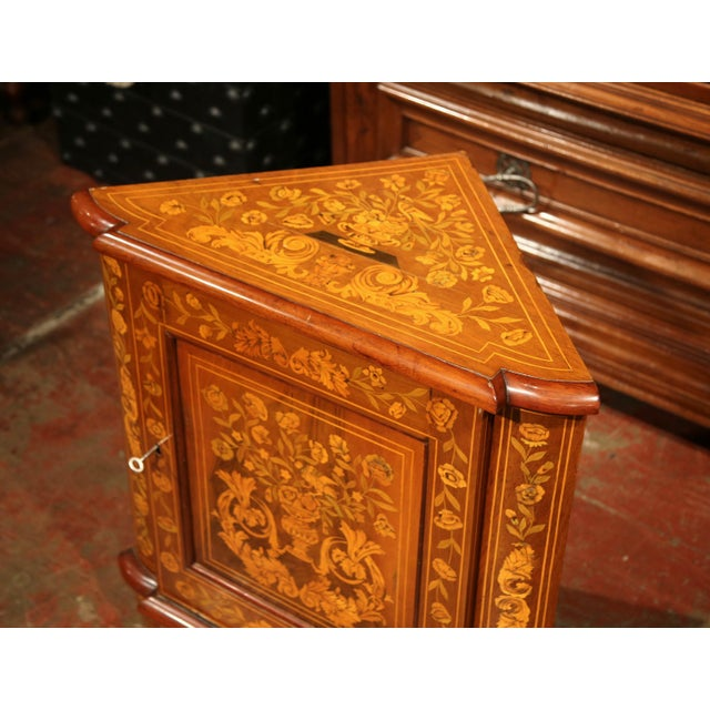 Fruitwood Early 19th Century Dutch Walnut Marquetry Corner Cabinet with Inlay Work For Sale - Image 7 of 9
