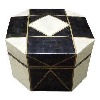 Large Maitland Smith Style Tessellated Stone, Horn and Brass Box For Sale