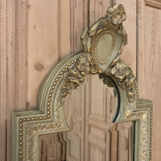 Glass 19th Century Italian Louis XVI Painted & Gilded Mirror For Sale - Image 7 of 11