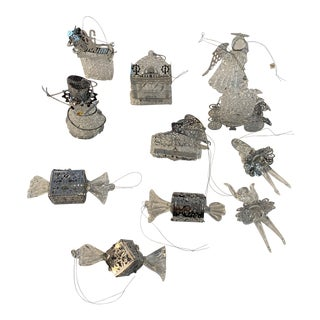 Handmade Crystal & Silver Ornaments, S/11 For Sale