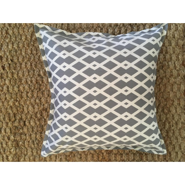 Gray Geometric Pillow Cases - A Pair For Sale - Image 4 of 8