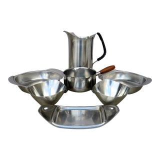 Stainless Steel Serving Collection - Set of 7 For Sale