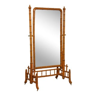 Antique 19th Century French Faux Bamboo Cheval Mirror For Sale