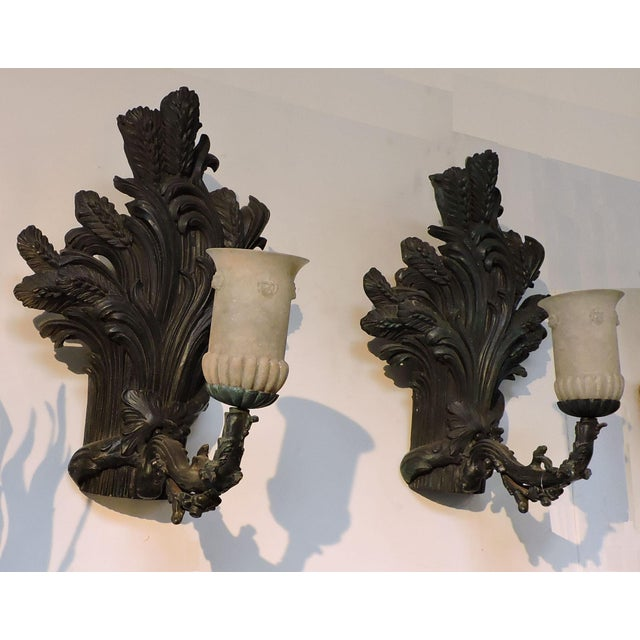 Art Deco Pair of Bronze Wheat Sheaf Sconces With Murano Glass Lamps For Sale - Image 3 of 8