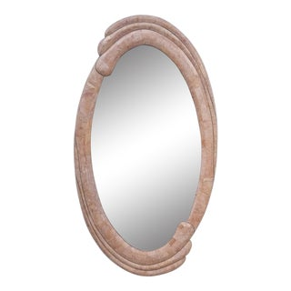 Maitland Smith Tessellate Stone Sculptural Oval Wall Mirror For Sale