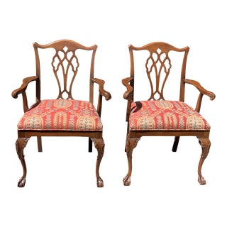 1950s Vintage Mahogany Chippendale Designer Arm Chairs- a Pair For Sale