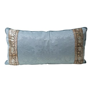 """Blue Accent Pillow With Silver Trim 18x36"""""""