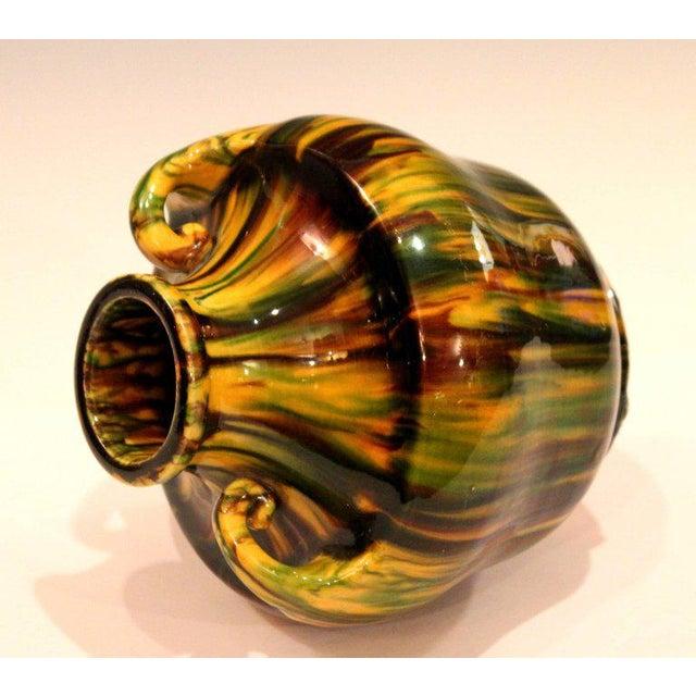 Yellow Awaji Pottery Art Deco Japanese Vintage Studio Vase in Yellow Flambe Glaze For Sale - Image 8 of 9