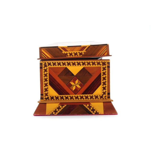 Boho Chic Vintage Geometrical Design Wooden Jewelry Box For Sale - Image 3 of 9