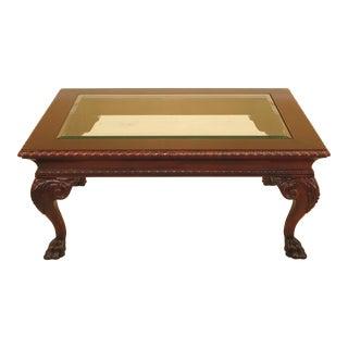 Century Beveled Glass Top Mahogany Coffee Table
