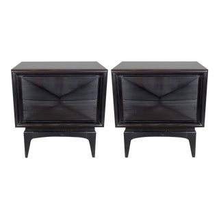 Pair of Mid-Century Modernist Cubist Nightstands with Angular Fronted Drawers For Sale